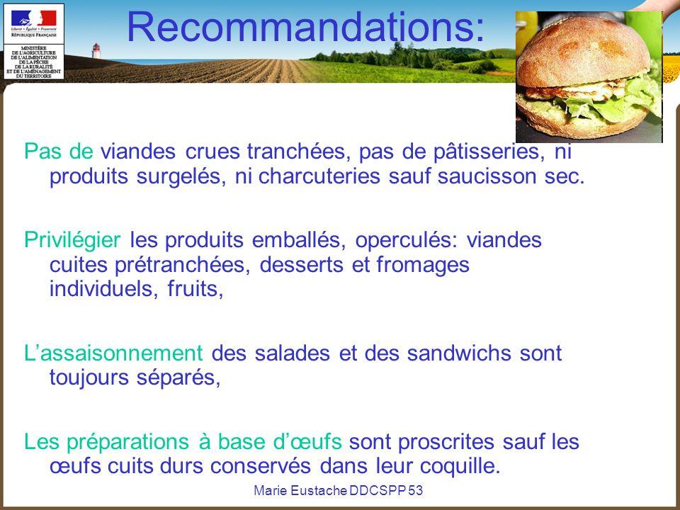 Marie Eustache DDCSPP 53 Recommandations: Pas de viandes crues tranchées, pas de pâtisseries, ni produits surgelés, ni charcuteries sauf saucisson sec