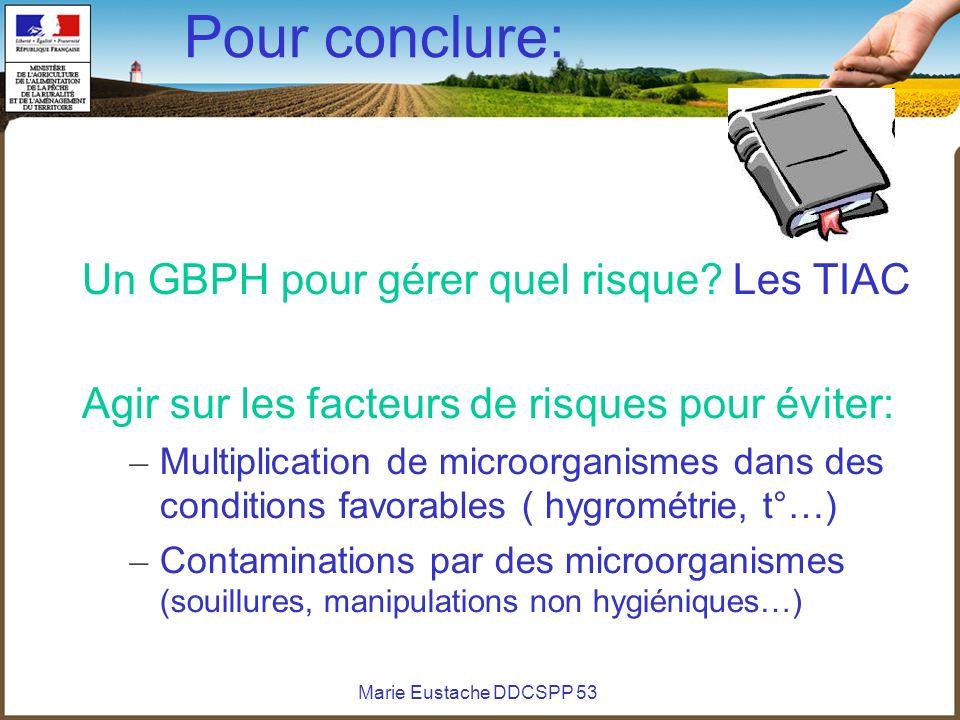 Marie Eustache DDCSPP 53 Pour conclure: Un GBPH pour gérer quel risque? Les TIAC Agir sur les facteurs de risques pour éviter: – Multiplication de mic