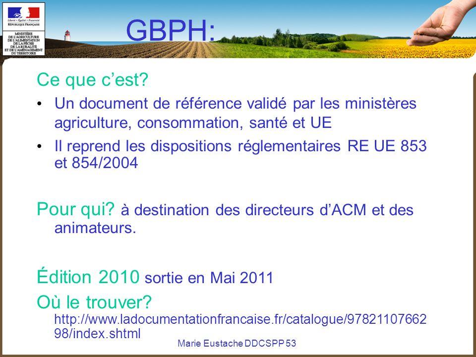 Marie Eustache DDCSPP 53 GBPH: Ce que cest? Un document de référence validé par les ministères agriculture, consommation, santé et UE Il reprend les d