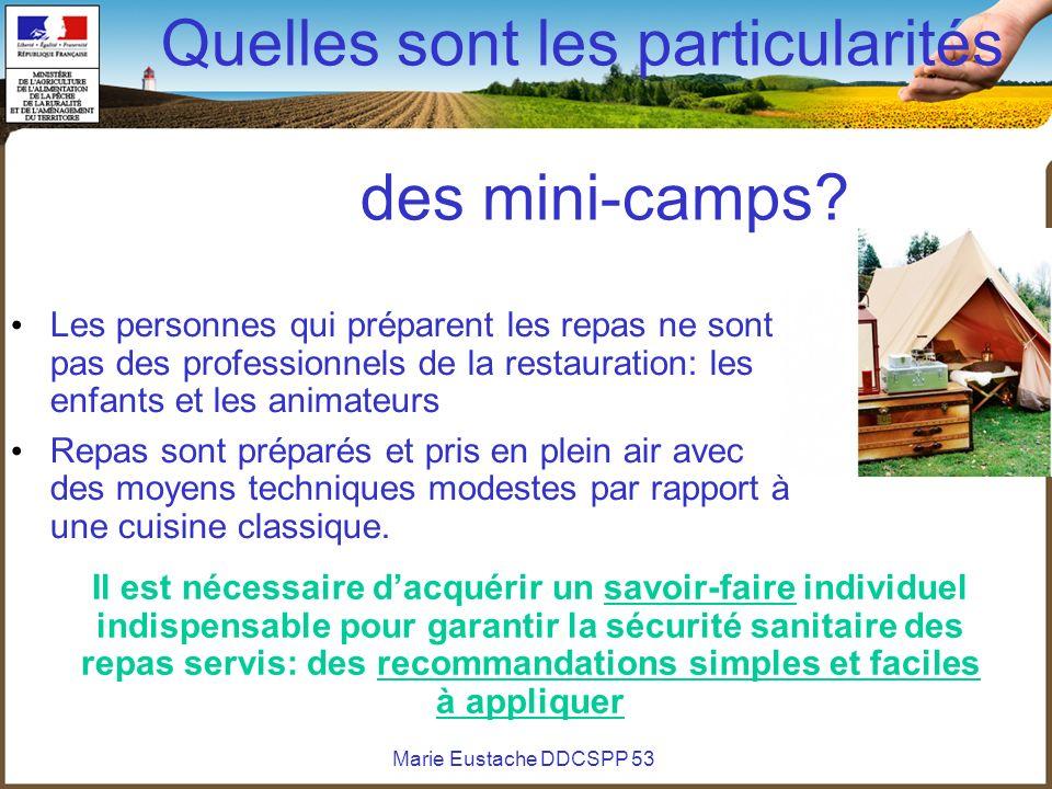 Marie Eustache DDCSPP 53 Quelles sont les particularités des mini-camps? Les personnes qui préparent les repas ne sont pas des professionnels de la re