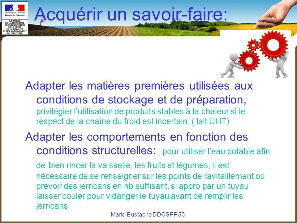 Marie Eustache DDCSPP 53 Acquérir un savoir-faire: Adapter les matières premières utilisées aux conditions de stockage et de préparation, privilégier