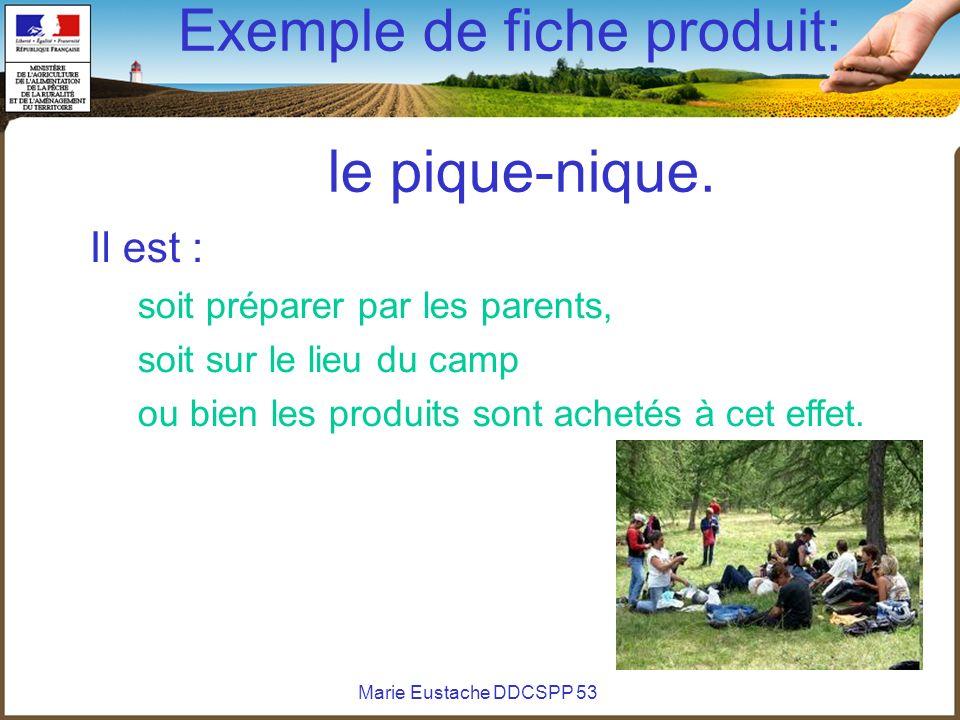 Marie Eustache DDCSPP 53 Exemple de fiche produit: le pique-nique. Il est : soit préparer par les parents, soit sur le lieu du camp ou bien les produi