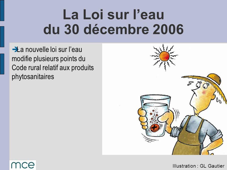 La nouvelle loi sur leau modifie plusieurs points du Code rural relatif aux produits phytosanitaires La Loi sur leau du 30 décembre 2006 Illustration