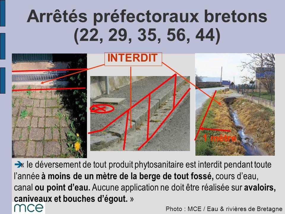 1 mètre « le déversement de tout produit phytosanitaire est interdit pendant toute lannée à moins de un mètre de la berge de tout fossé, cours deau, c