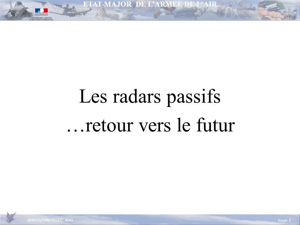 ETAT-MAJOR DE LARMEE DE LAIR BPROG/CMI/TELEC AUG Page 1 Les radars passifs …retour vers le futur
