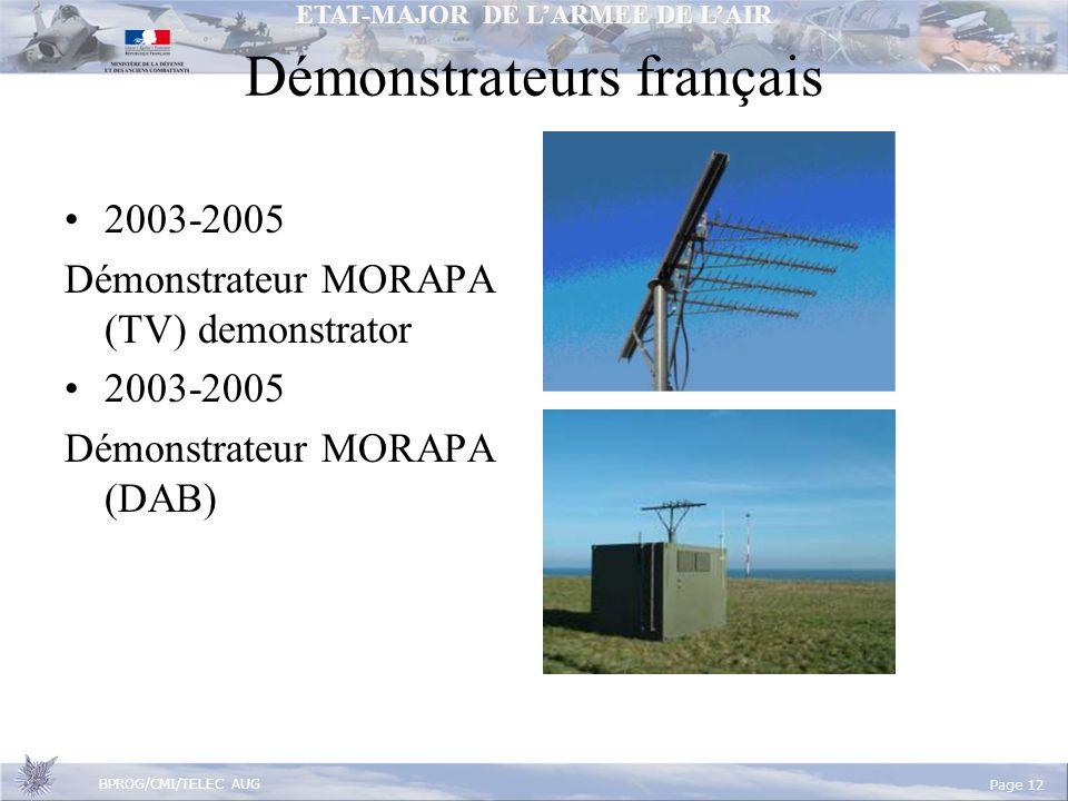 ETAT-MAJOR DE LARMEE DE LAIR BPROG/CMI/TELEC AUG Page 12 2003-2005 Démonstrateur MORAPA (TV) demonstrator 2003-2005 Démonstrateur MORAPA (DAB) Démonstrateurs français