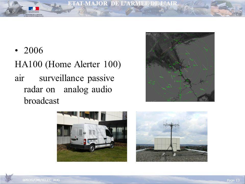 ETAT-MAJOR DE LARMEE DE LAIR BPROG/CMI/TELEC AUG Page 13 2006 HA100 (Home Alerter 100) air surveillance passive radar on analog audio broadcast
