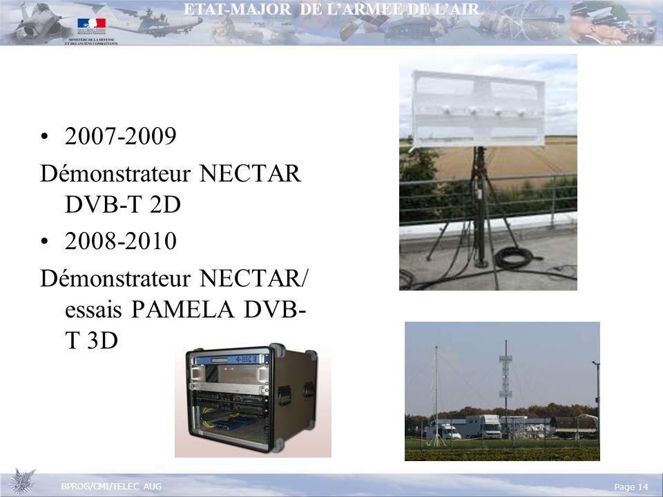 ETAT-MAJOR DE LARMEE DE LAIR BPROG/CMI/TELEC AUG Page 14 2007-2009 Démonstrateur NECTAR DVB-T 2D 2008-2010 Démonstrateur NECTAR/ essais PAMELA DVB- T 3D