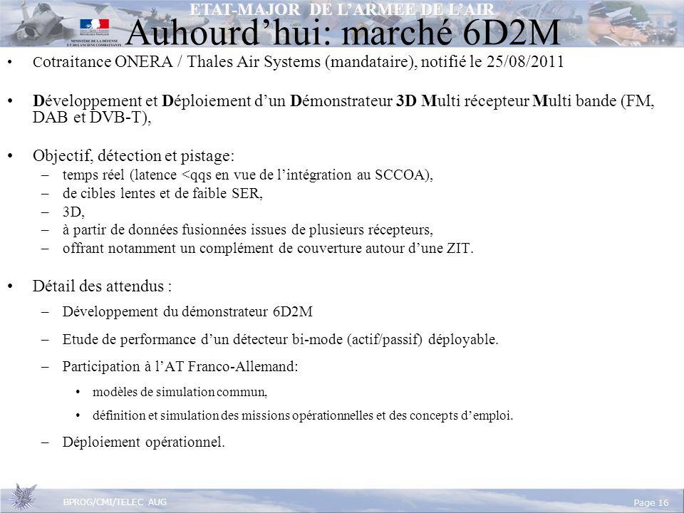 ETAT-MAJOR DE LARMEE DE LAIR BPROG/CMI/TELEC AUG Page 16 Auhourdhui: marché 6D2M C otraitance ONERA / Thales Air Systems (mandataire), notifié le 25/08/2011 Développement et Déploiement dun Démonstrateur 3D Multi récepteur Multi bande (FM, DAB et DVB-T), Objectif, détection et pistage: –temps réel (latence <qqs en vue de lintégration au SCCOA), –de cibles lentes et de faible SER, –3D, –à partir de données fusionnées issues de plusieurs récepteurs, –offrant notamment un complément de couverture autour dune ZIT.