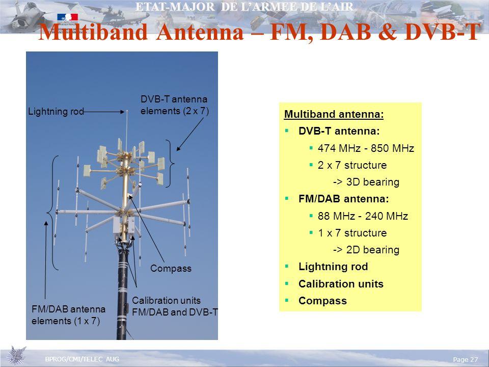 ETAT-MAJOR DE LARMEE DE LAIR BPROG/CMI/TELEC AUG Page 27 Multiband Antenna – FM, DAB & DVB-T Lightning rod DVB-T antenna elements (2 x 7) FM/DAB antenna elements (1 x 7) Calibration units FM/DAB and DVB-T Multiband antenna: DVB-T antenna: 474 MHz - 850 MHz 2 x 7 structure -> 3D bearing FM/DAB antenna: 88 MHz - 240 MHz 1 x 7 structure -> 2D bearing Lightning rod Calibration units Compass