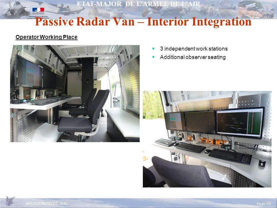 ETAT-MAJOR DE LARMEE DE LAIR BPROG/CMI/TELEC AUG Page 29 Passive Radar Van – Interior Integration Operator Working Place 3 independent work stations Additional observer seating
