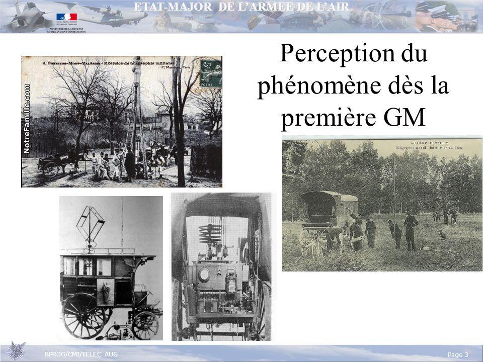 ETAT-MAJOR DE LARMEE DE LAIR BPROG/CMI/TELEC AUG Page 3 Perception du phénomène dès la première GM