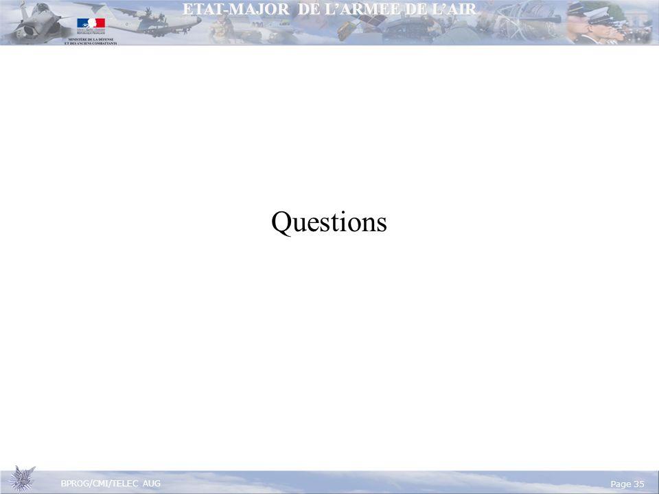 ETAT-MAJOR DE LARMEE DE LAIR BPROG/CMI/TELEC AUG Page 35 Questions