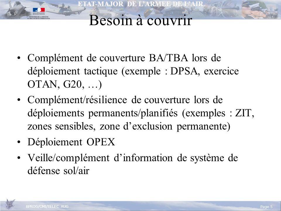 ETAT-MAJOR DE LARMEE DE LAIR BPROG/CMI/TELEC AUG Page 5 Besoin à couvrir Complément de couverture BA/TBA lors de déploiement tactique (exemple : DPSA, exercice OTAN, G20, …) Complément/résilience de couverture lors de déploiements permanents/planifiés (exemples : ZIT, zones sensibles, zone dexclusion permanente) Déploiement OPEX Veille/complément dinformation de système de défense sol/air