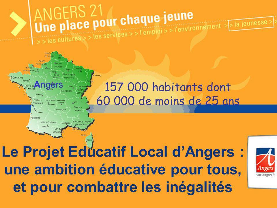 1 Le Projet Educatif Local dAngers : une ambition éducative pour tous, et pour combattre les inégalités 157 000 habitants dont 60 000 de moins de 25 a