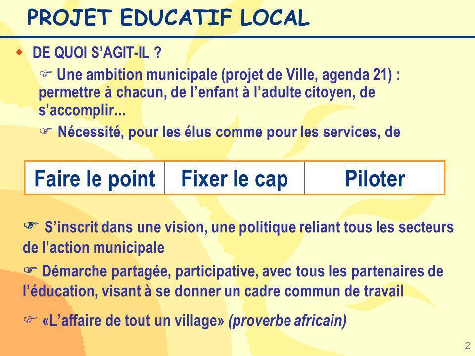 2 PROJET EDUCATIF LOCAL w DE QUOI SAGIT-IL ? Une ambition municipale (projet de Ville, agenda 21) : permettre à chacun, de lenfant à ladulte citoyen,