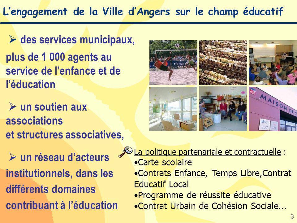 3 Lengagement de la Ville dAngers sur le champ éducatif des services municipaux, plus de 1 000 agents au service de lenfance et de léducation un souti