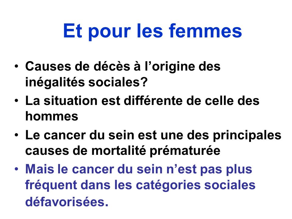 Et pour les femmes Causes de décès à lorigine des inégalités sociales? La situation est différente de celle des hommes Le cancer du sein est une des p