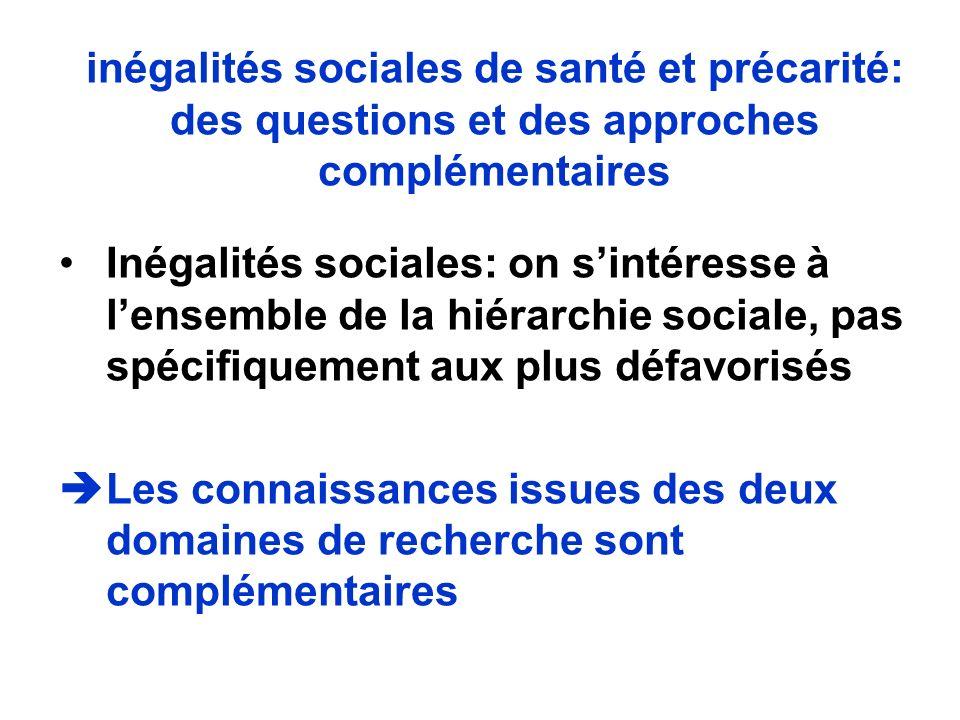 inégalités sociales de santé et précarité: des questions et des approches complémentaires Inégalités sociales: on sintéresse à lensemble de la hiérarc