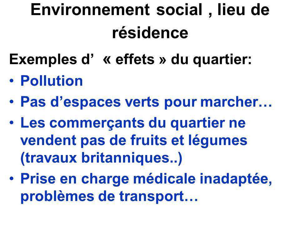 Environnement social, lieu de résidence Exemples d « effets » du quartier: Pollution Pas despaces verts pour marcher… Les commerçants du quartier ne v