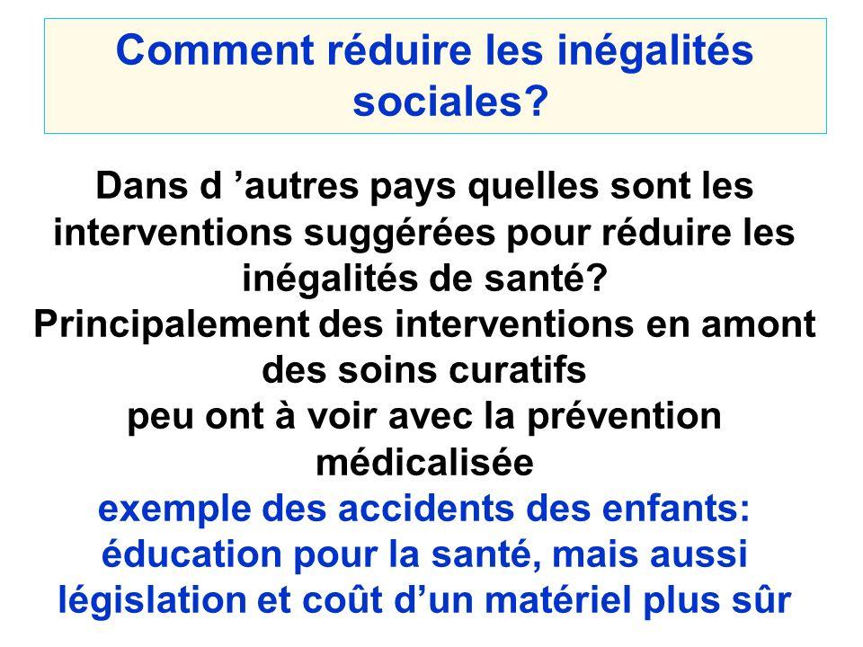 Comment réduire les inégalités sociales? Dans d autres pays quelles sont les interventions suggérées pour réduire les inégalités de santé? Principalem