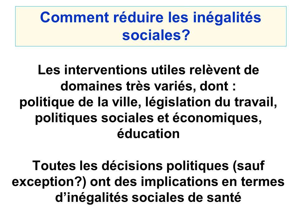 Comment réduire les inégalités sociales? Les interventions utiles relèvent de domaines très variés, dont : politique de la ville, législation du trava