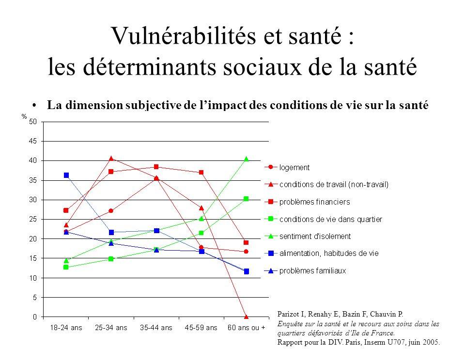 Vulnérabilités et santé : les déterminants sociaux de la santé La dimension subjective de limpact des conditions de vie sur la santé Parizot I, Renahy