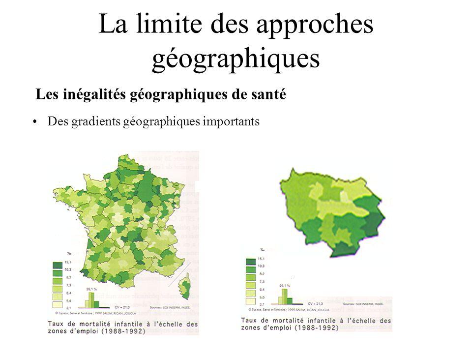 La limite des approches géographiques Les inégalités géographiques de santé Des gradients géographiques importants