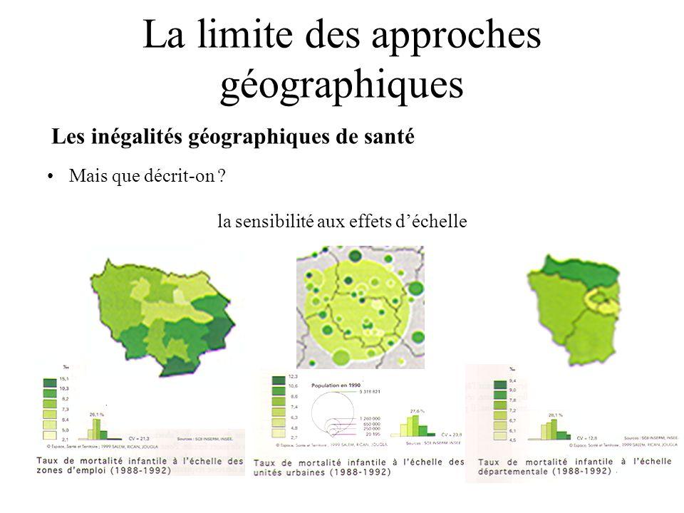 La limite des approches géographiques Les inégalités géographiques de santé Mais que décrit-on ? la sensibilité aux effets déchelle