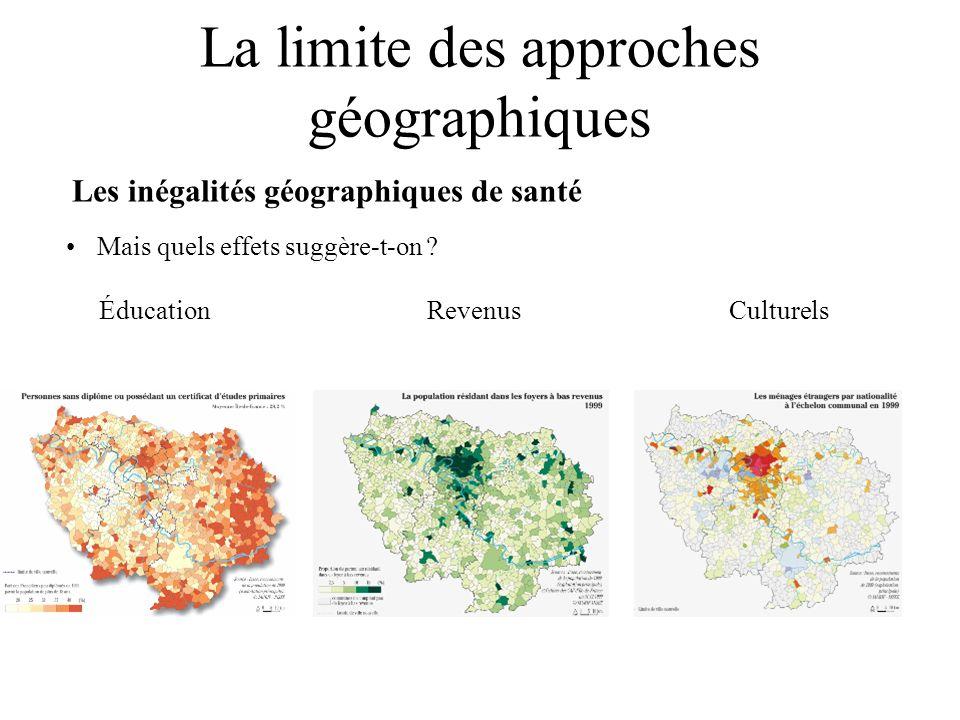 La limite des approches géographiques Les inégalités géographiques de santé Mais quels effets suggère-t-on ? Éducation Revenus Culturels