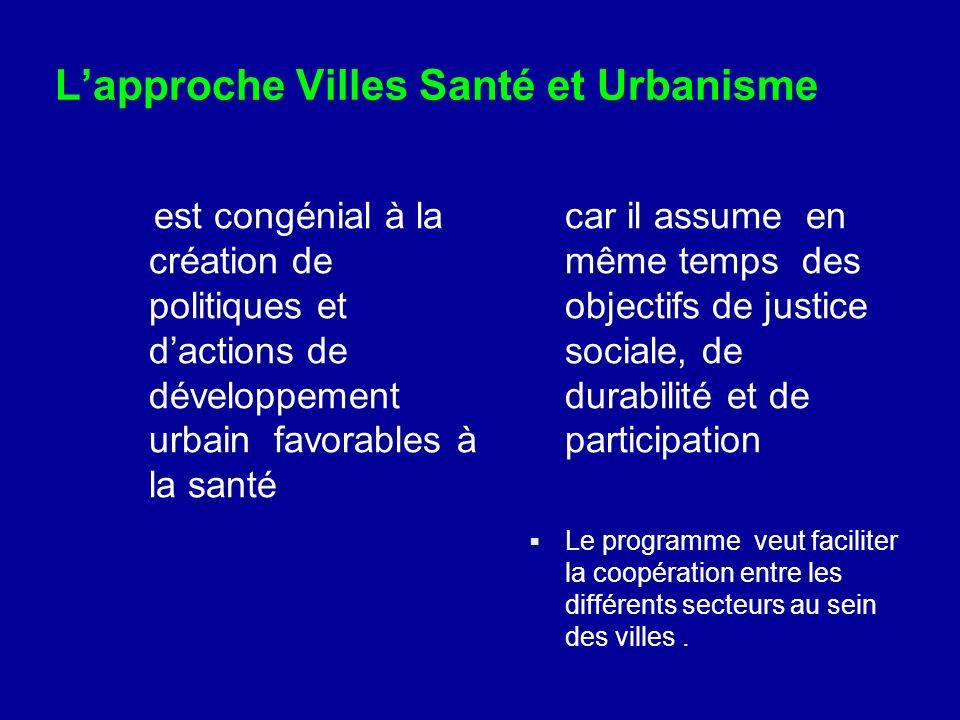 Lapproche Villes Santé et Urbanisme est congénial à la création de politiques et dactions de développement urbain favorables à la santé car il assume