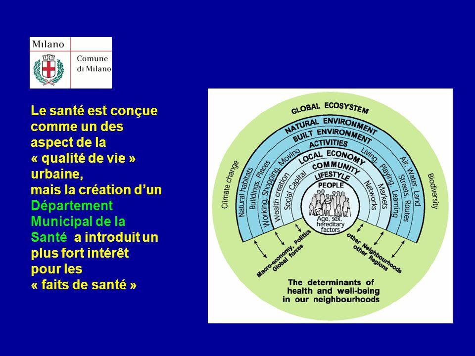 Le santé est conçue comme un des aspect de la « qualité de vie » urbaine, mais la création dun Département Municipal de la Santé a introduit un plus f