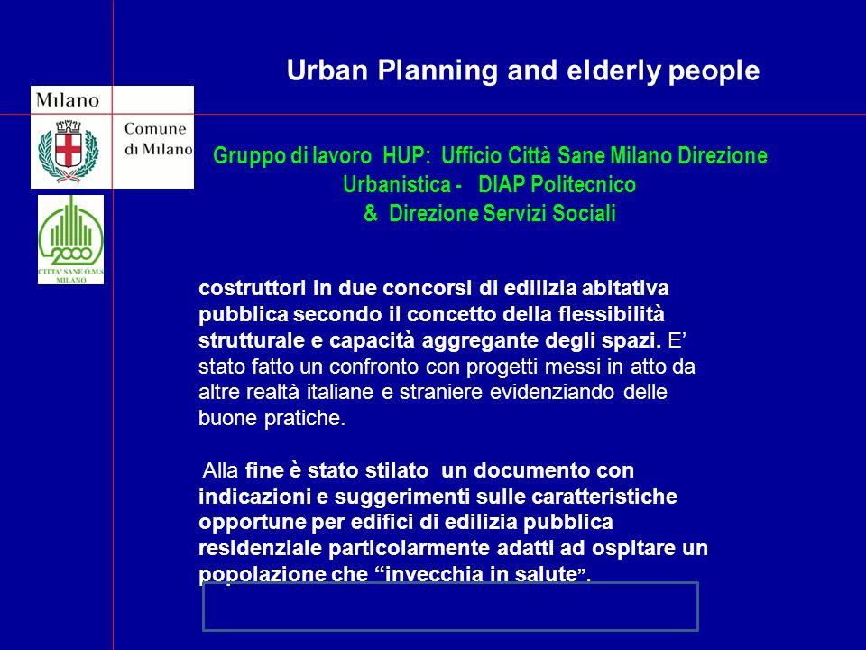 . Gruppo di lavoro HUP: Ufficio Città Sane Milano Direzione Urbanistica - DIAP Politecnico & Direzione Servizi Sociali Sono stati analizzati i progett