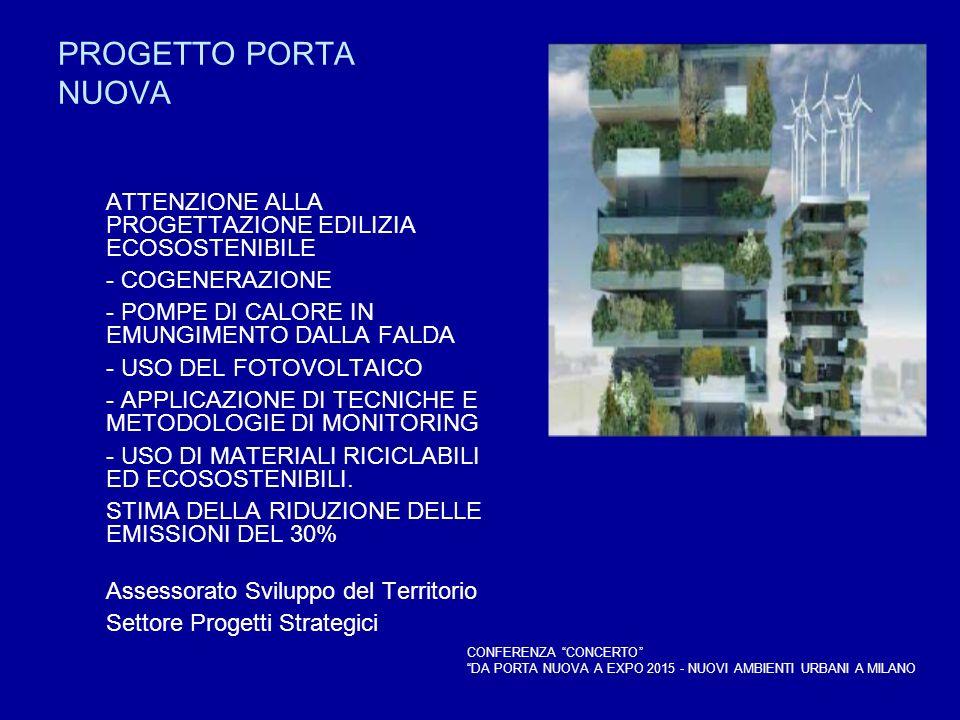 PROGETTO PORTA NUOVA ATTENZIONE ALLA PROGETTAZIONE EDILIZIA ECOSOSTENIBILE - COGENERAZIONE - POMPE DI CALORE IN EMUNGIMENTO DALLA FALDA - USO DEL FOTO