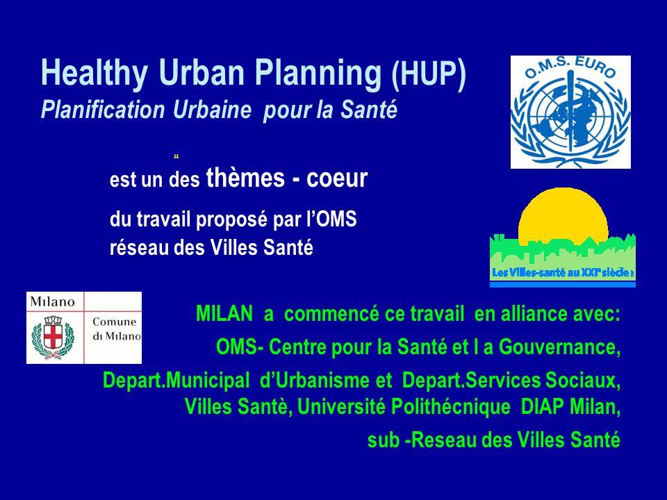 Healthy Urban Planning (HUP ) Planification Urbaine pour la Santé est un des thèmes - coeur du travail proposé par lOMS au réseau des Villes Santé MIL