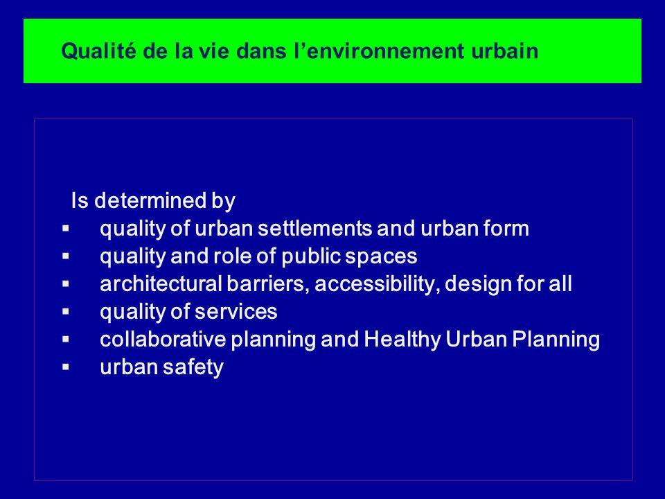 Lapproche Villes Santé et Urbanisme est congénial à la création de politiques et dactions de développement urbain favorables à la santé car il assume en même temps des objectifs de justice sociale, de durabilité et de participation Le programme veut faciliter la coopération entre les différents secteurs au sein des villes.
