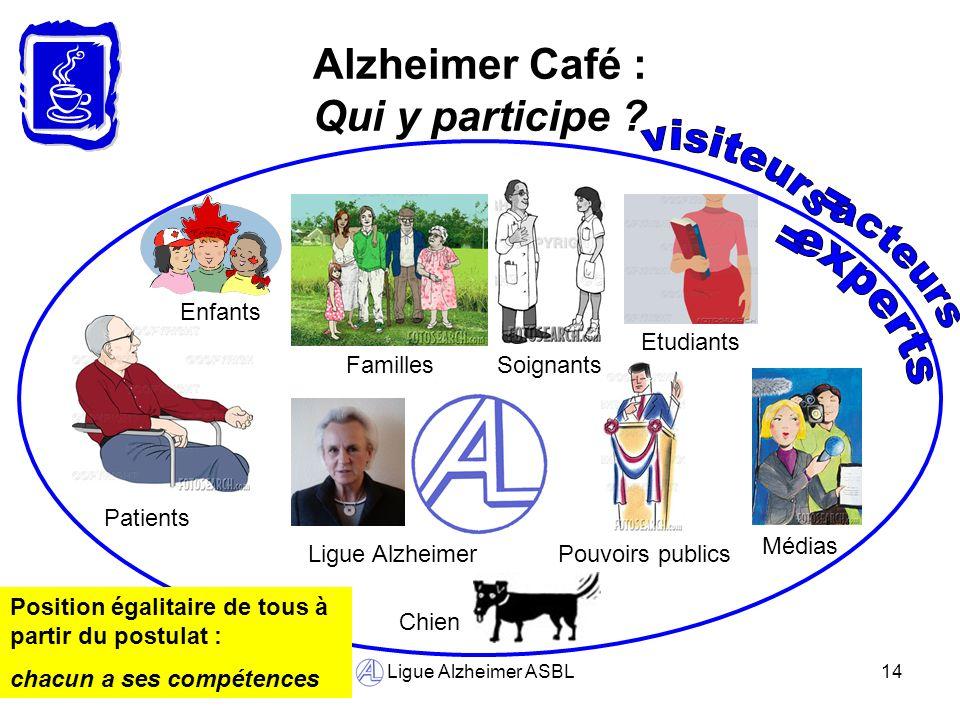 Ligue Alzheimer ASBL14 Alzheimer Café : Qui y participe ? Familles Pouvoirs publics Patients Etudiants Soignants Médias Ligue Alzheimer Chien Enfants