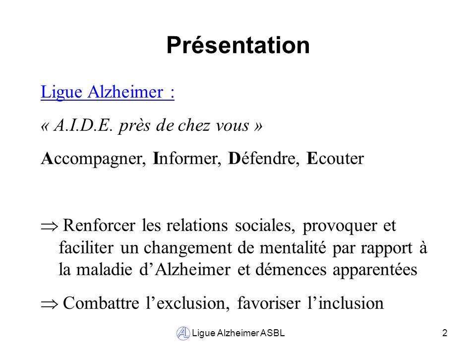 Ligue Alzheimer ASBL2 Présentation Ligue Alzheimer : « A.I.D.E. près de chez vous » Accompagner, Informer, Défendre, Ecouter Renforcer les relations s