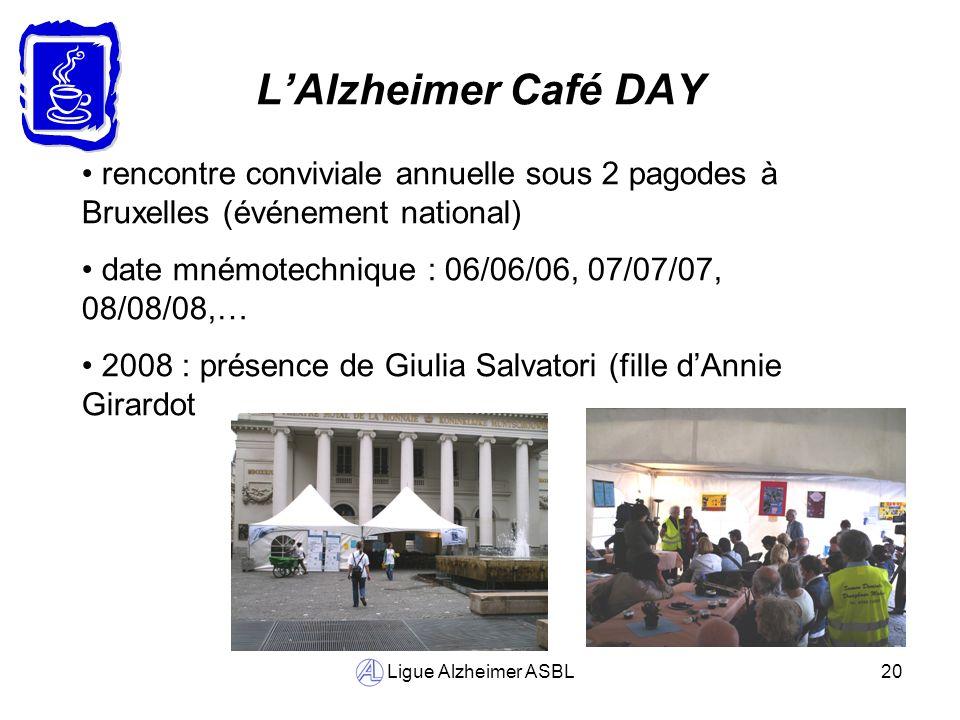 Ligue Alzheimer ASBL20 LAlzheimer Café DAY rencontre conviviale annuelle sous 2 pagodes à Bruxelles (événement national) date mnémotechnique : 06/06/0
