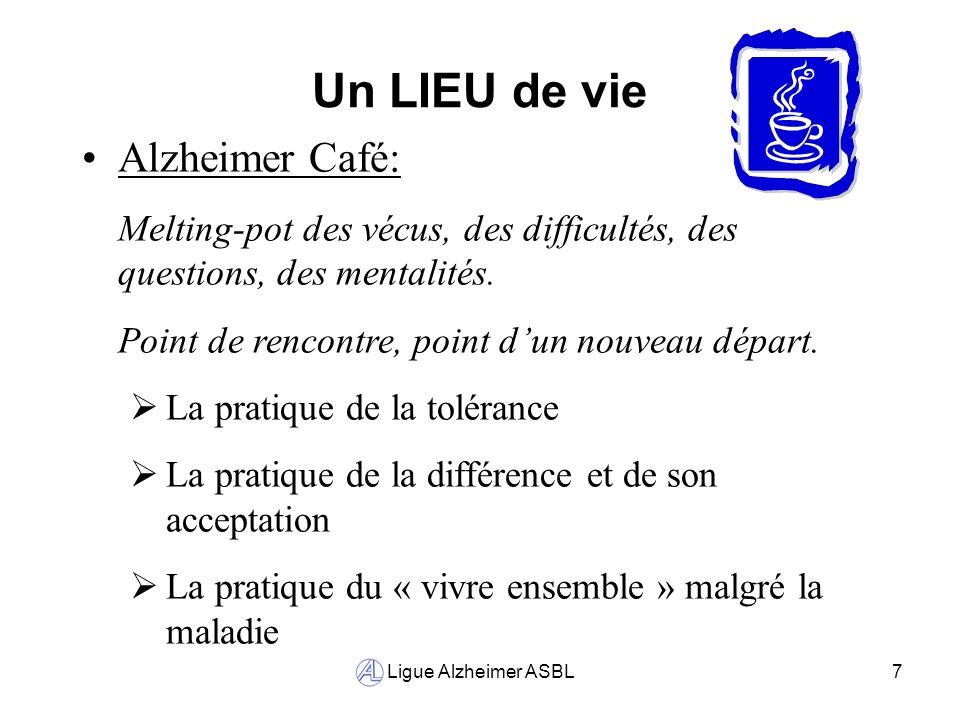Ligue Alzheimer ASBL7 Un LIEU de vie Alzheimer Café: Melting-pot des vécus, des difficultés, des questions, des mentalités. Point de rencontre, point