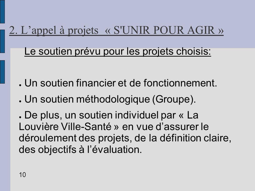 2. Lappel à projets « S'UNIR POUR AGIR » Le soutien prévu pour les projets choisis: Un soutien financier et de fonctionnement. Un soutien méthodologiq