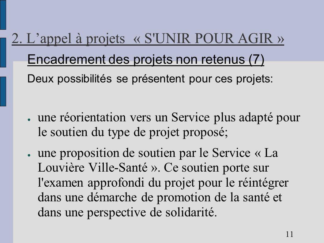 2. Lappel à projets « S'UNIR POUR AGIR » Encadrement des projets non retenus (7) Deux possibilités se présentent pour ces projets: une réorientation v