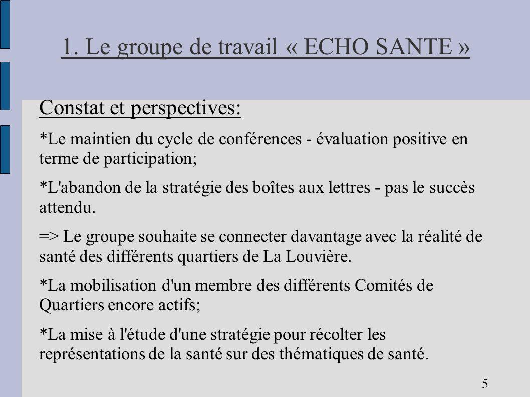 1. Le groupe de travail « ECHO SANTE » Constat et perspectives: *Le maintien du cycle de conférences - évaluation positive en terme de participation;