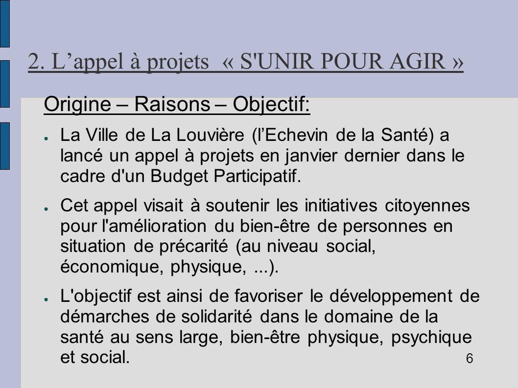 2. Lappel à projets « S'UNIR POUR AGIR » Origine – Raisons – Objectif: La Ville de La Louvière (lEchevin de la Santé) a lancé un appel à projets en ja