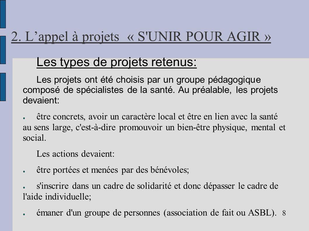 2. Lappel à projets « S'UNIR POUR AGIR » Les types de projets retenus: Les projets ont été choisis par un groupe pédagogique composé de spécialistes d