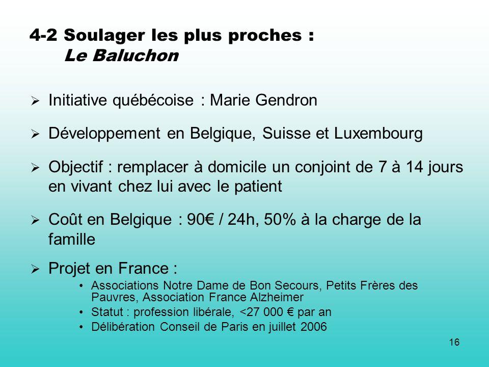 16 4-2 Soulager les plus proches : Le Baluchon Initiative québécoise : Marie Gendron Développement en Belgique, Suisse et Luxembourg Objectif : rempla