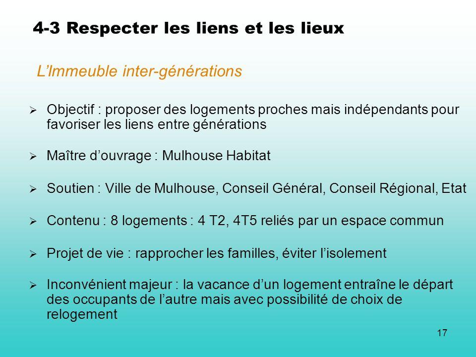 17 4-3 Respecter les liens et les lieux Objectif : proposer des logements proches mais indépendants pour favoriser les liens entre générations Maître