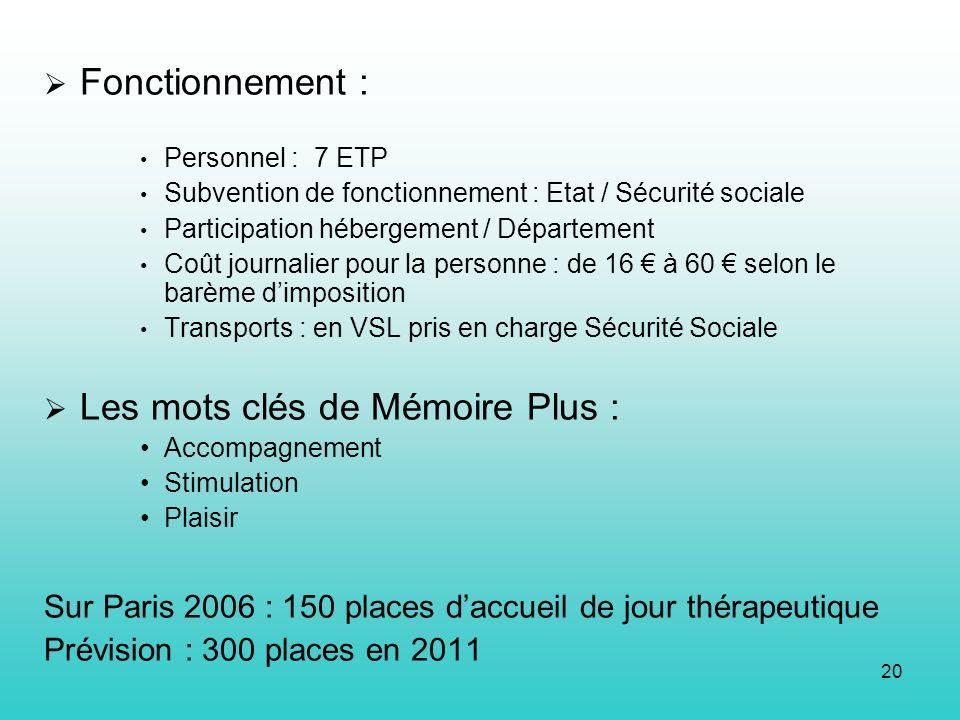 20 Fonctionnement : Personnel : 7 ETP Subvention de fonctionnement : Etat / Sécurité sociale Participation hébergement / Département Coût journalier p
