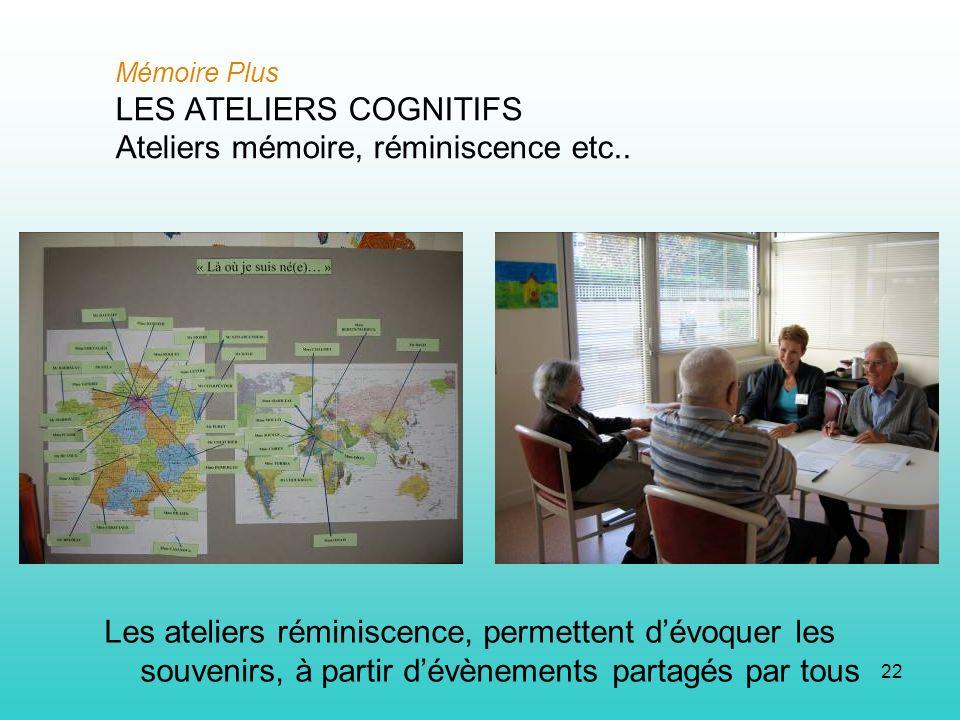 22 Mémoire Plus LES ATELIERS COGNITIFS Ateliers mémoire, réminiscence etc.. Les ateliers réminiscence, permettent dévoquer les souvenirs, à partir dév