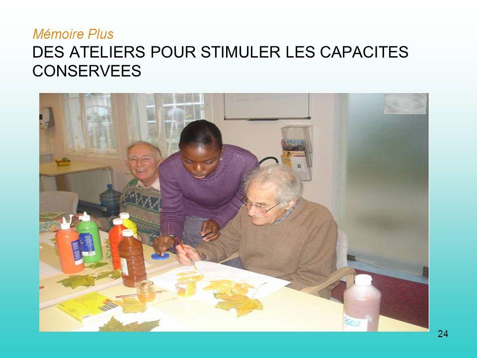 24 Mémoire Plus DES ATELIERS POUR STIMULER LES CAPACITES CONSERVEES